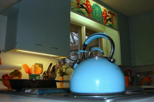 light blue teapot & kitchen