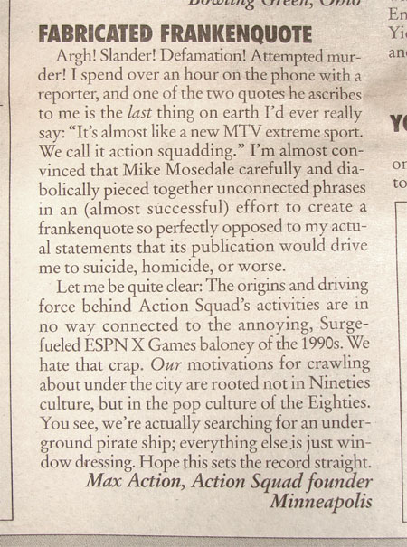 letter to the City Pages editor, Oct 2001